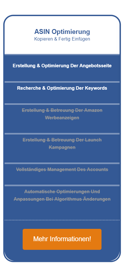 Amazon Seo Agentur Preistabelle links